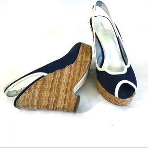 Banana Republic basket weave wedge navy heels